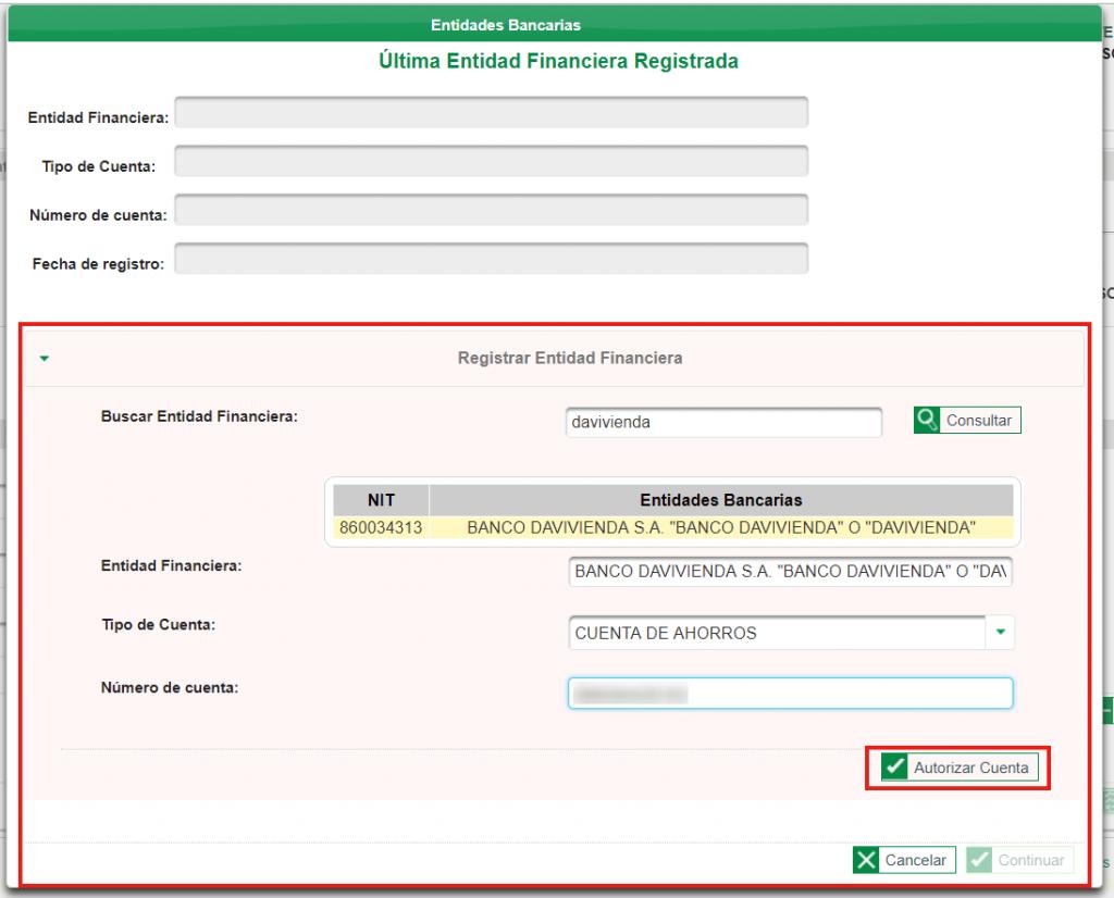 Formulario Registro Entidad Bancaria