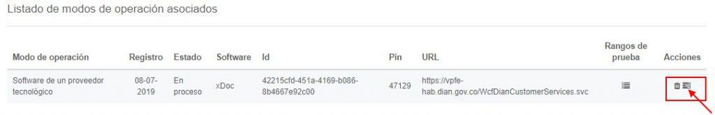 Botón Detalle Set Pruebas Factura Electrónica