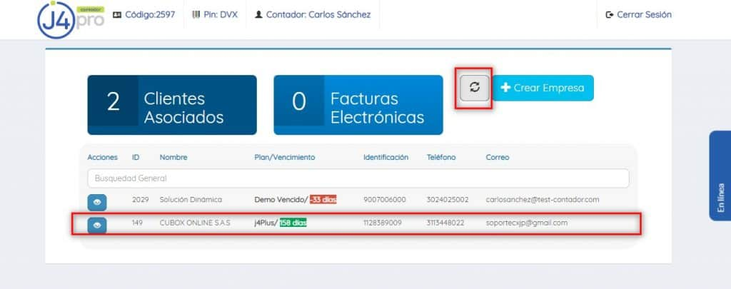 Nueva Empresa Registra j4Pro Contador