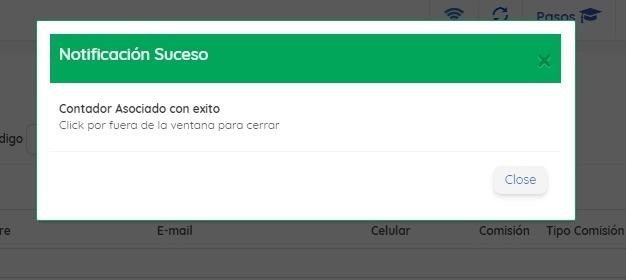 Notificación Asociación Contador
