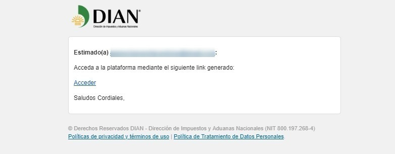 Email Acceso Plataforma Habilitación