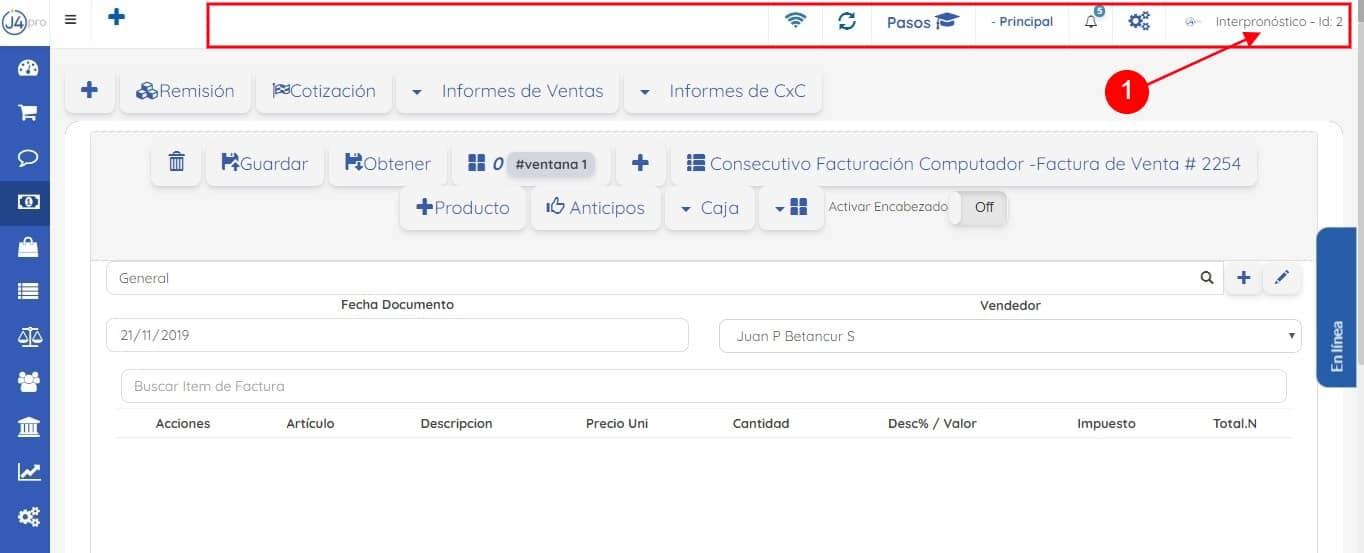 Click Perfil Barra Superior Plataforma j4Pro