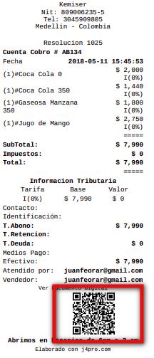 Código QR en la factura impresa de J4PRO