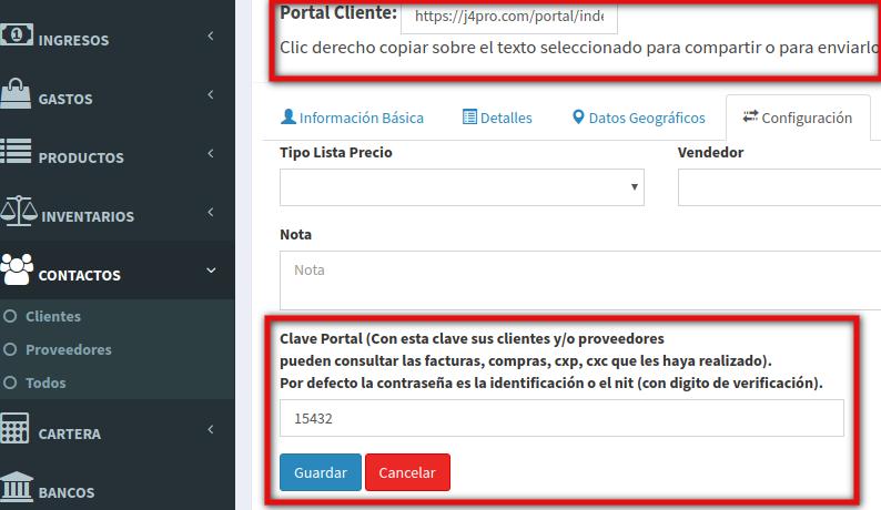 Configuración Portal de Clientes