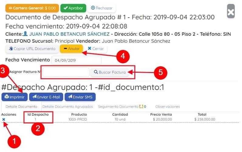 Detalle Despacho Agrupado