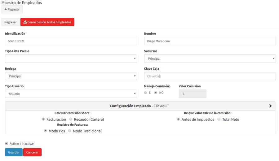 Formulario para editar usuarios y empleados
