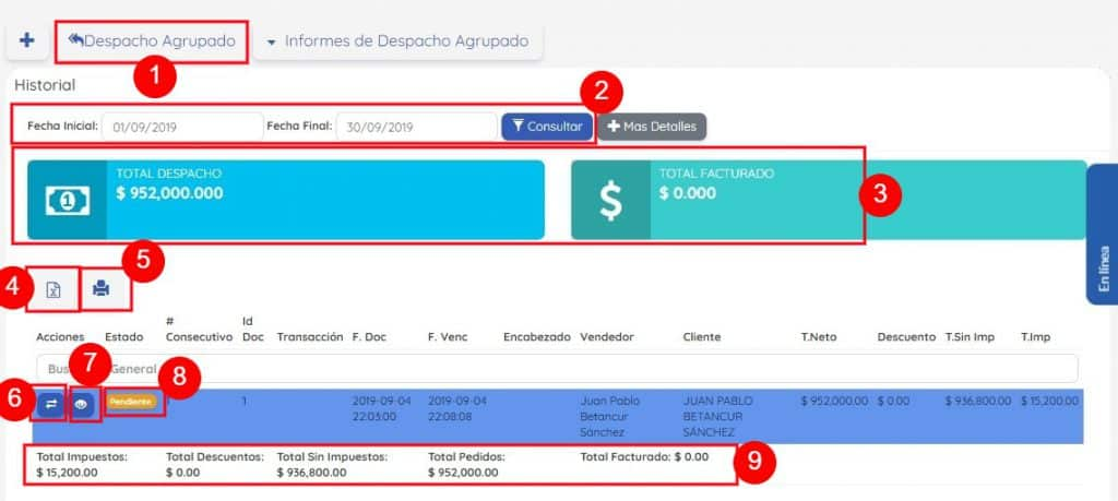 Detalle Informe de Despacho Agrupado