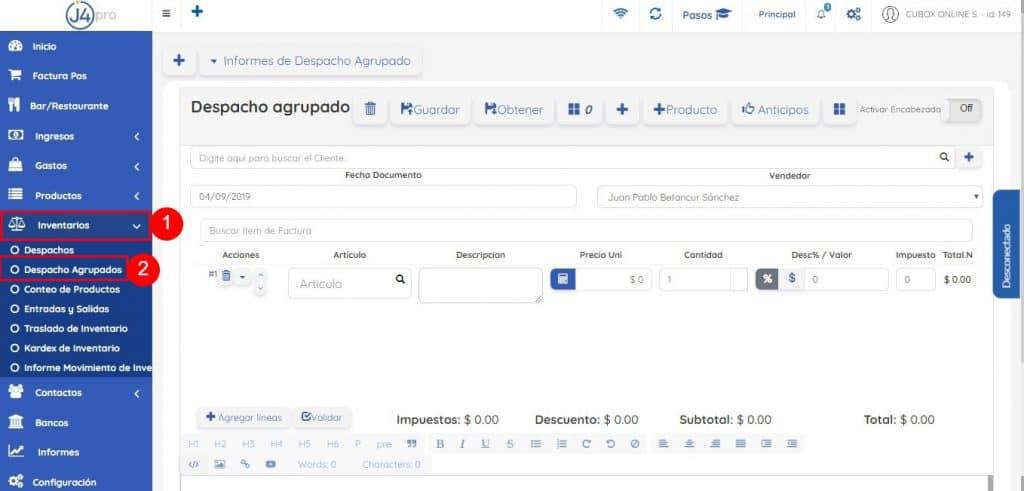 Menú Lateral Izquierdo - Inventarios - Despacho Agrupados