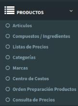 Menú Productos