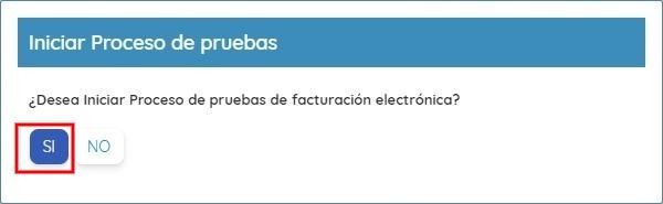 Notificación Inicio Proceso de Pruebas Factura Electrónica