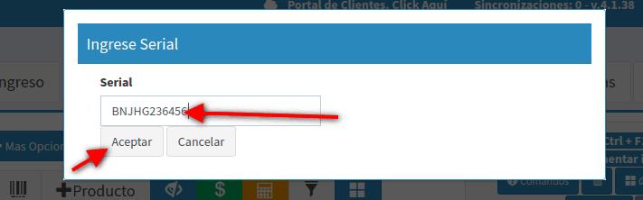 Número del serial del producto en pantalla POS