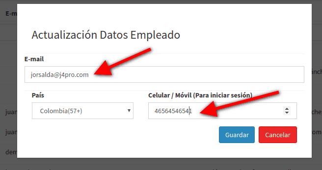 Pantalla Actualizar datos del usuario